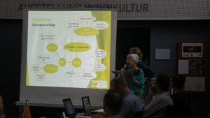 Gabriele Feyler und Anne Richter stellten die Ergebnisse ihrer Umfrage im Wohnhof Pfotenhauer-/Elisen- und Hopfgartenstraße vor. Foto: Philine Schlick