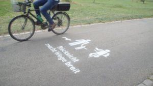Ein eigens für die Stadt Dresden entworfenes Piktogramm wirbt am Fährgarten für Rücksichtnahme. Foto: Philine Schlick