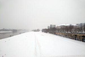 Schnee am Käthe-Kollwitz-Ufer. Foto: Philine Schlick